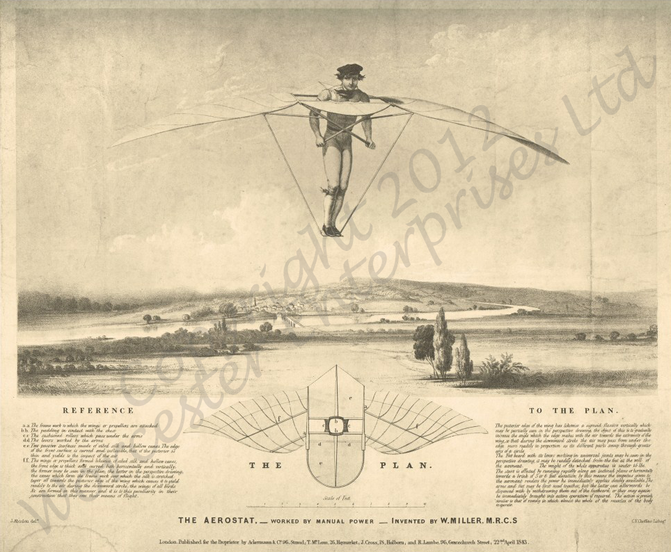 Doctor Miller's Design for an Ornithopter: 1843
