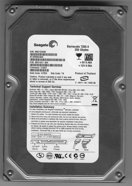 Seagate Barracuda 7200.9 250 GB SATA